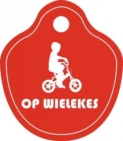 Logo Op wielekes - fietsplaatje rood